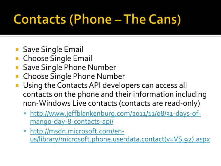 Contacts (Phone – The Cans)