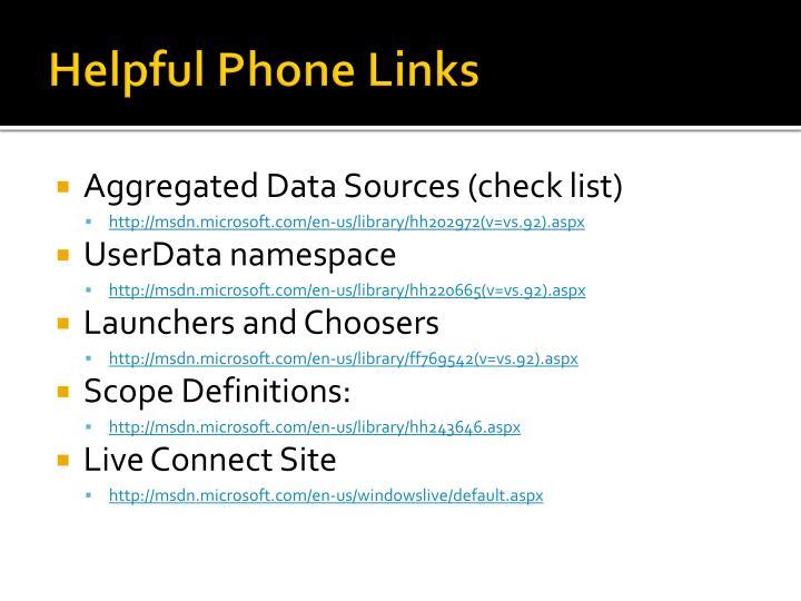 Helpful Phone Links