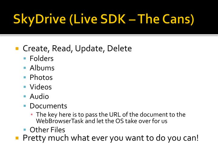 SkyDrive (Live SDK – The Cans)