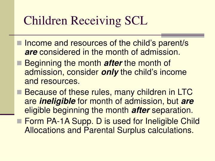 Children Receiving SCL