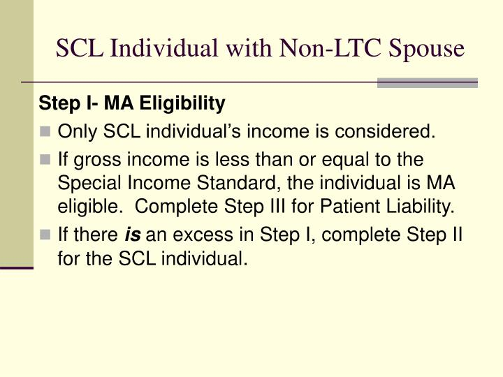 SCL Individual with Non-LTC Spouse