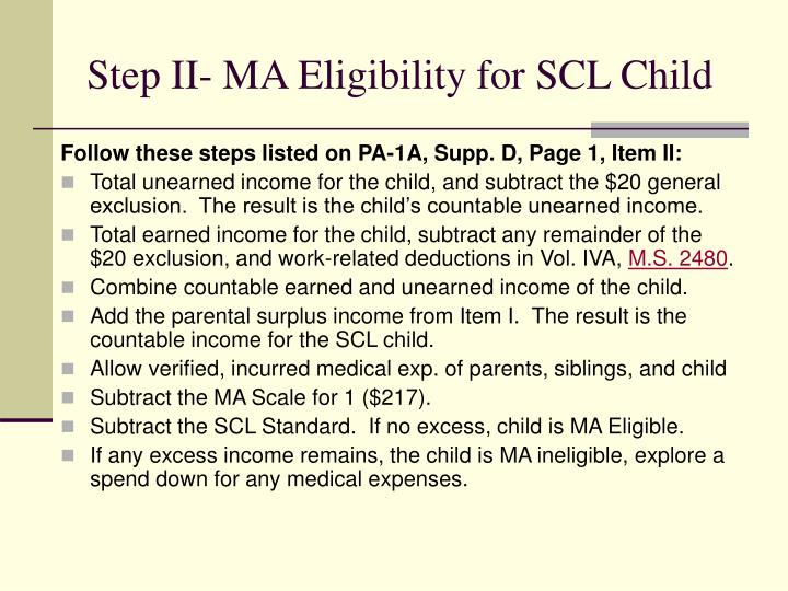 Step II- MA Eligibility for SCL Child