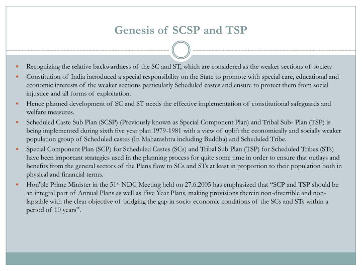 Genesis of SCSP and TSP