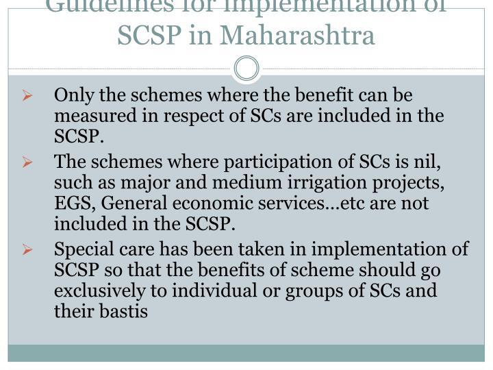 Guidelines for implementation of SCSP in Maharashtra