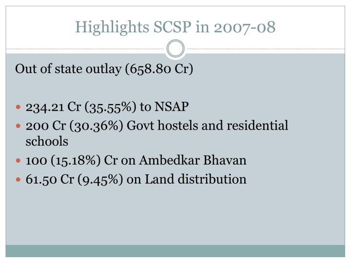 Highlights SCSP in 2007-08