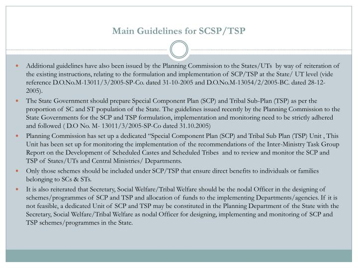 Main Guidelines for SCSP/TSP