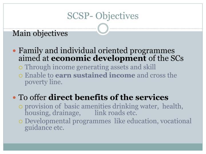 SCSP- Objectives
