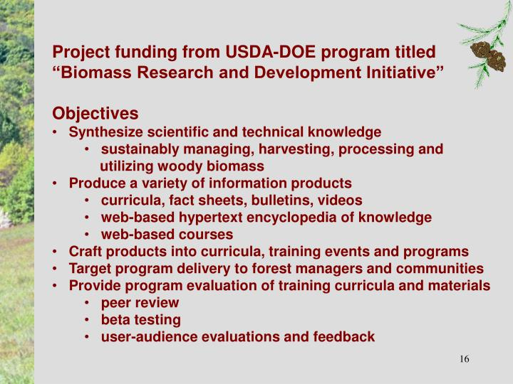 Project funding from USDA-DOE program titled