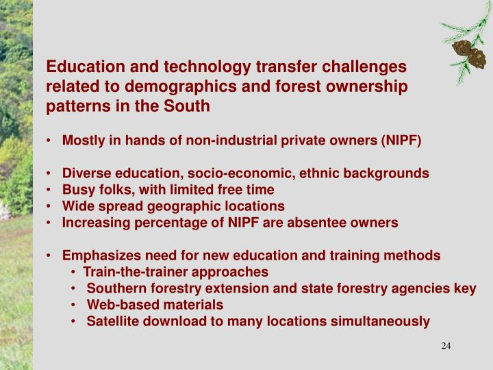 Education and technology transfer challenges