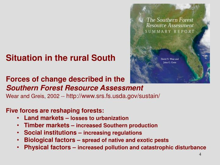 Situation in the rural South