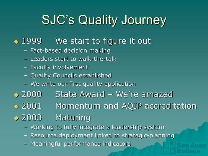 SJC's Quality Journey