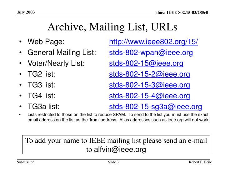 Archive, Mailing List, URLs