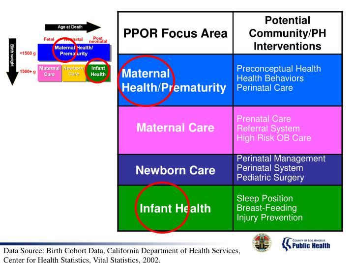 Data Source: Birth Cohort Data, California Department of Health Services,                                   Center for Health Statistics, Vital Statistics, 2002.
