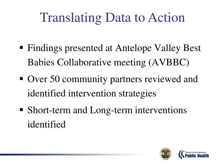 Findings presented at Antelope Valley Best Babies Collaborative meeting (AVBBC)
