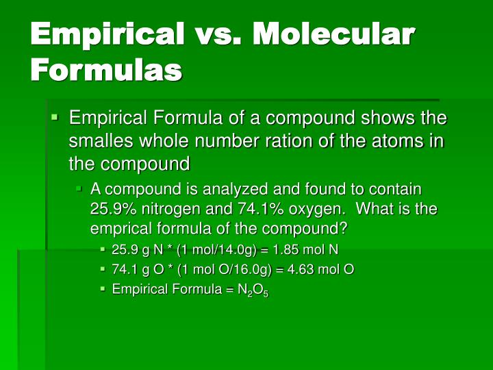Empirical vs. Molecular Formulas