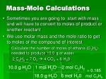 mass mole calculations