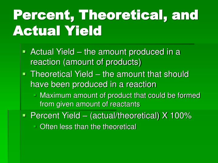 Percent, Theoretical, and Actual Yield