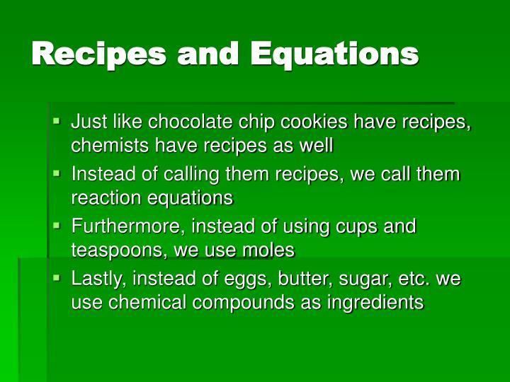 Recipes and Equations