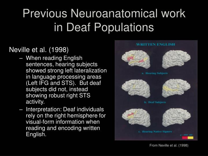 Previous Neuroanatomical work in Deaf Populations