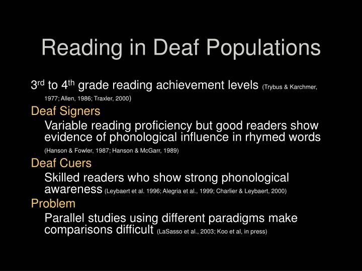 Reading in Deaf Populations