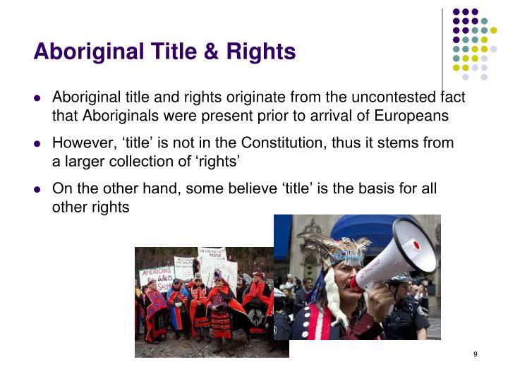 Aboriginal Title & Rights