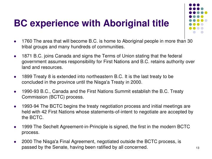 BC experience with Aboriginal title