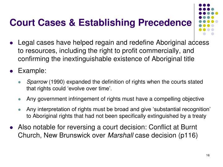 Court Cases & Establishing Precedence