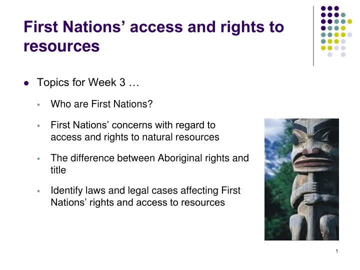 First Nations' access and rights to resources