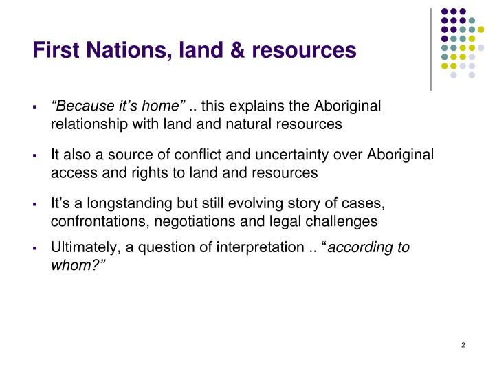 First Nations, land & resources
