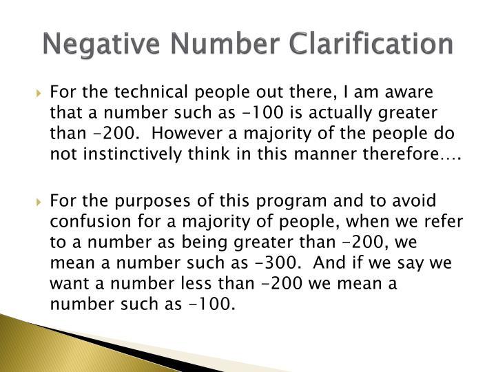 Negative Number Clarification