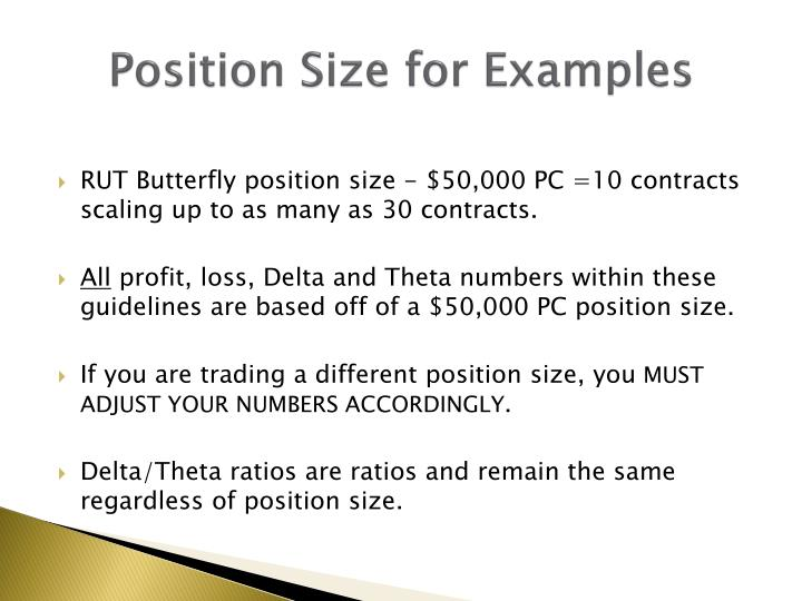 Position Size for Examples