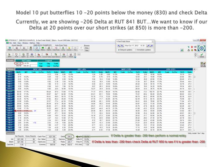 Model 10 put butterflies 10 -20 points below the money (830) and check Delta
