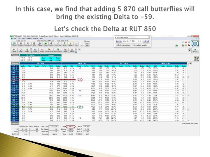 In this case, we find that adding 5 870 call butterflies will bring the existing Delta to -59.