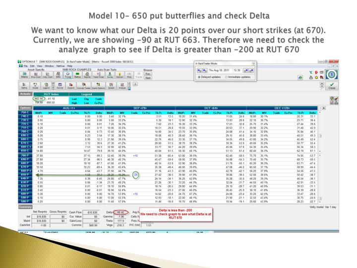 Model 10- 650 put butterflies and check Delta