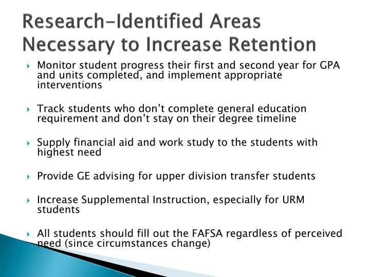 Research-Identified Areas Necessary to Increase Retention