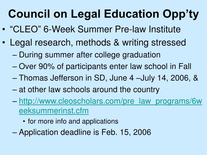 Council on Legal Education Opp'ty