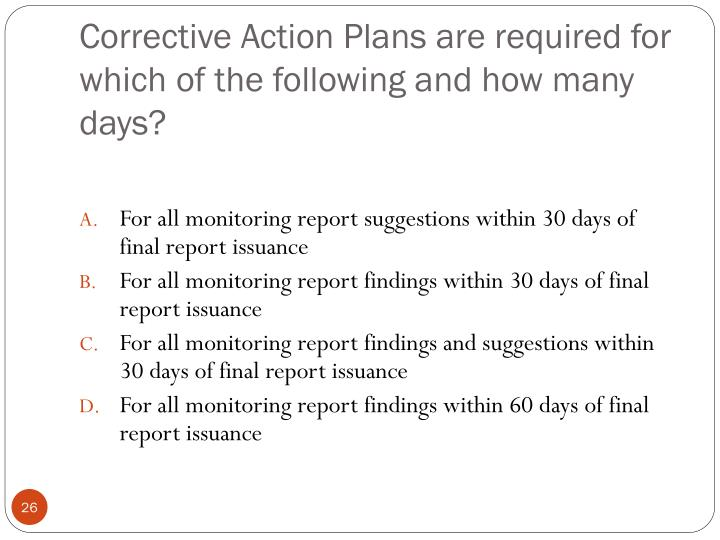 Corrective Action Plans are required for which of the following and how many days?