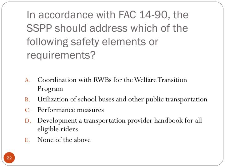 In accordance with FAC 14-90, the SSPP should address which of the following safety elements or requirements?