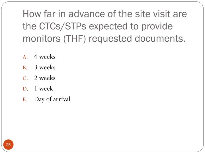 How far in advance of the site visit are  the CTCs/STPs expected to provide monitors (THF) requested documents.