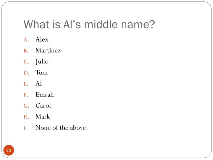 What is Al's middle name?