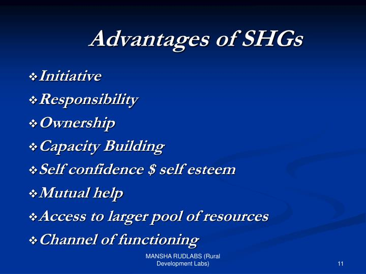 Advantages of SHGs