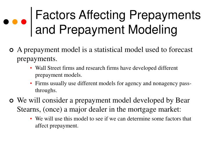 Factors Affecting Prepayments and Prepayment Modeling