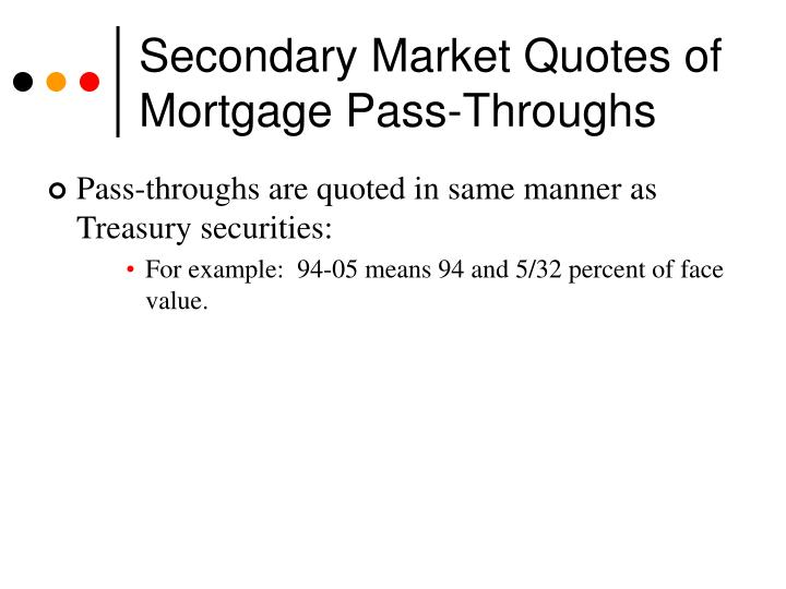 Secondary Market Quotes of Mortgage Pass-Throughs