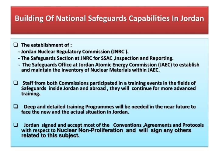 Building Of National Safeguards Capabilities In Jordan