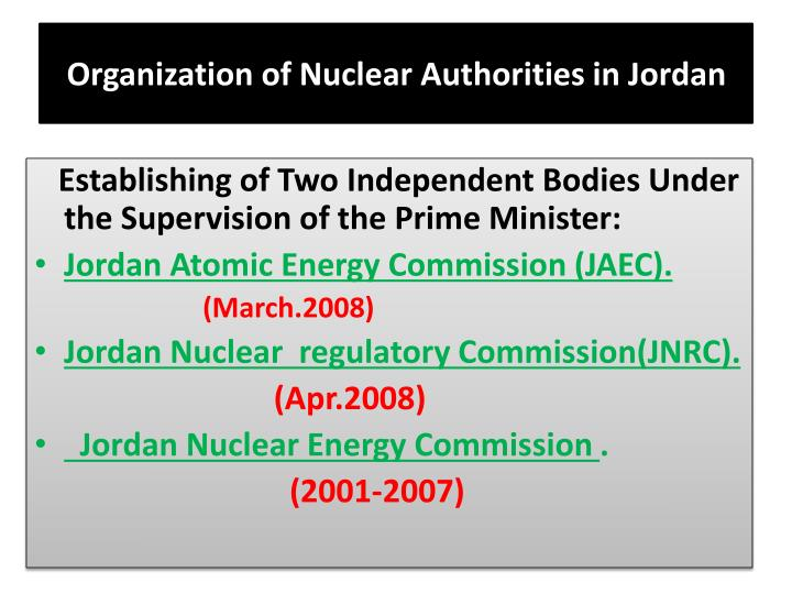 Organization of nuclear authorities in jordan