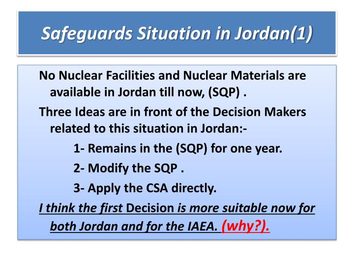 Safeguards Situation in Jordan(1)