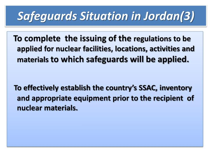 Safeguards Situation in Jordan(3)