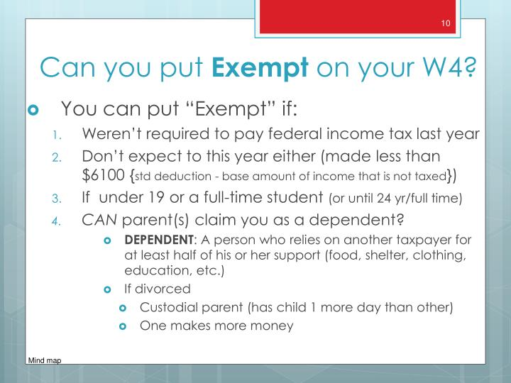 """You can put """"Exempt"""" if:"""