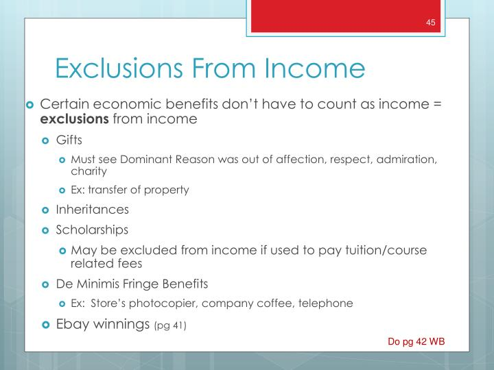 Certain economic benefits don't have to count as income =