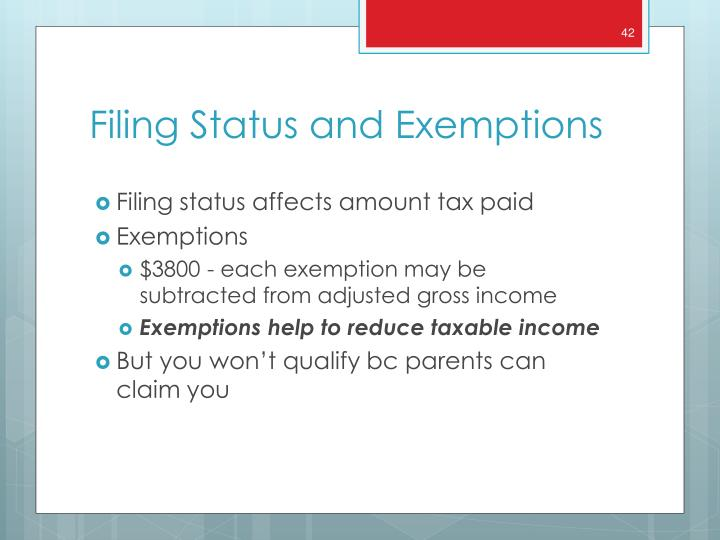 Filing status affects amount tax paid